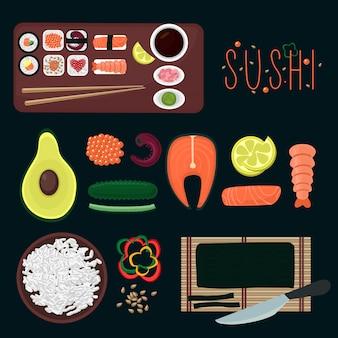 Kolekcja elementów sushi