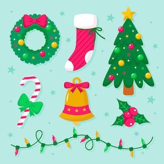 Kolekcja elementów świątecznych w płaskiej konstrukcji