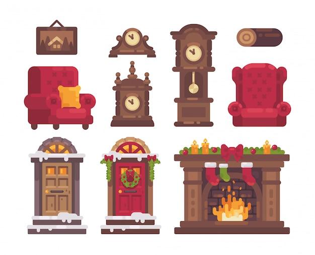 Kolekcja elementów świątecznych wnętrz.