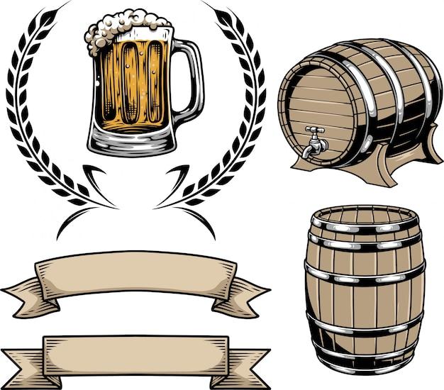 Kolekcja elementów szklanych opakowań piwa