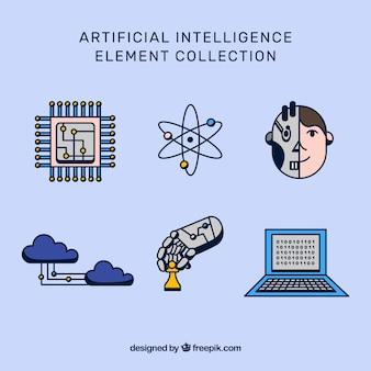 Kolekcja elementów sztucznej inteligencji w płaskiej konstrukcji