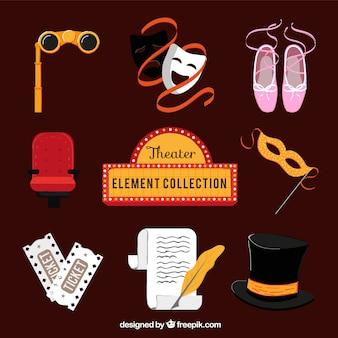 Kolekcja elementów teatru