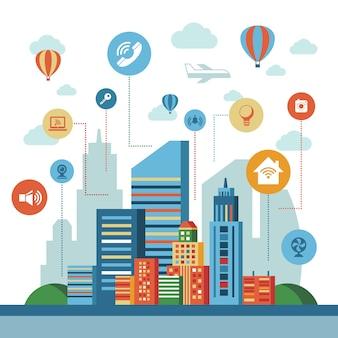 Kolekcja elementów technologii inteligentnego miasta