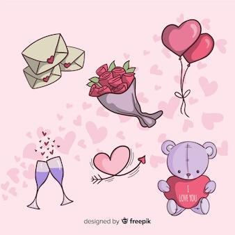 Kolekcja elementów valentine kreskówka