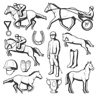 Kolekcja elementów vintage jeździectwo