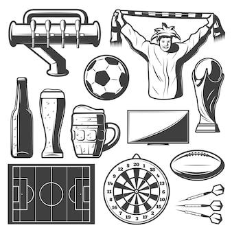 Kolekcja elementów vintage sport bar
