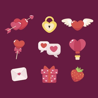 Kolekcja Elementów Walentynkowych Darmowych Wektorów
