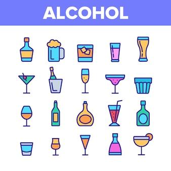 Kolekcja elementów zestawu napojów alkoholowych