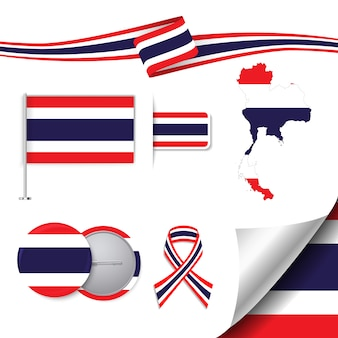 Kolekcja elementów ziołowych z flagą tajlandii wzoru