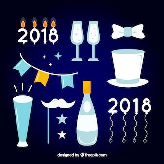 Kolekcja elementu uroczystości nowego roku