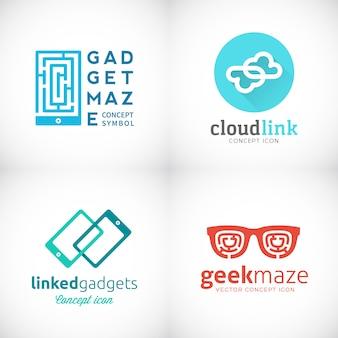 Kolekcja emblematów gadżetów powiązanych z usługą w chmurze. zestaw szablonów logo maniaków.