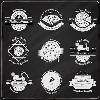 Kolekcja emblematów pizza chalkboard