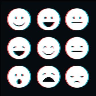 Kolekcja emoji glitch