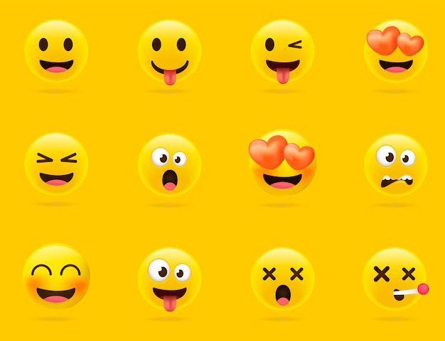 Kolekcja emoji kreskówek. zestaw emotikonów o różnym nastroju. styl 3d