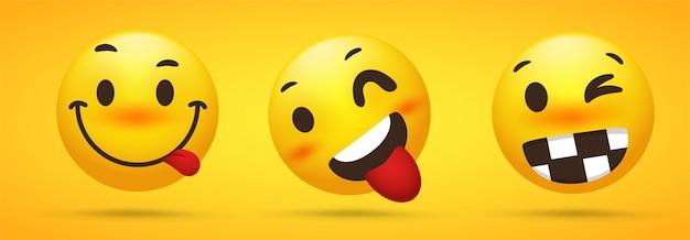 Kolekcja emoji, która pokazuje bezczelny talent, oszukane, zabawne koła na żółtym tle.