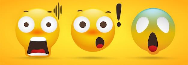 Kolekcja emoji, która pokazuje ekstremalny szok na żółto