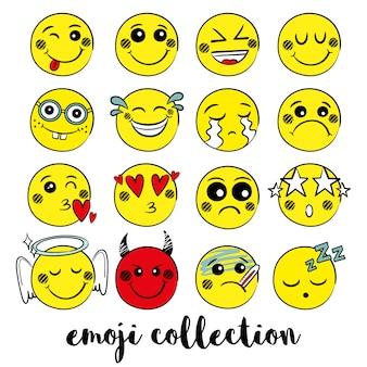 Kolekcja emoji w kolorze żółtym