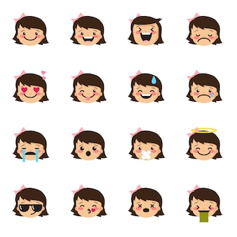 Kolekcja emotikonów dziewczyna