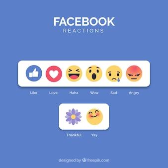 Kolekcja emotikonów Facebook o płaskiej konstrukcji