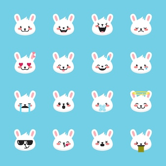 Kolekcja emotikonów królika