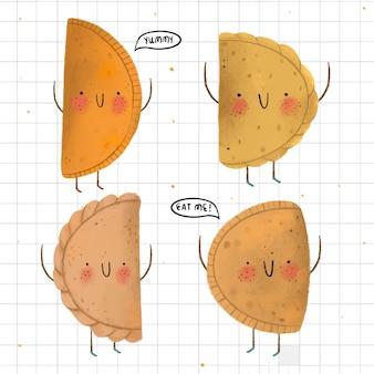 Kolekcja empanada w ręku rysowane