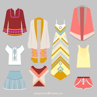 Kolekcja etniczne ubrania