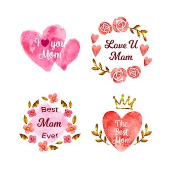 Kolekcja etykiet akwarela dzień matki