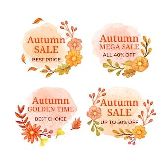 Kolekcja etykiet akwarela jesienna wyprzedaż