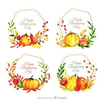 Kolekcja etykiet akwarela święto dziękczynienia