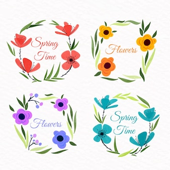 Kolekcja etykiet akwarela wiosna ramki