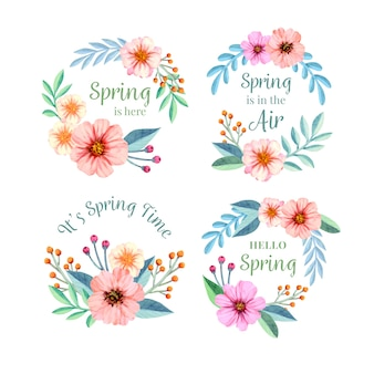 Kolekcja etykiet akwarela wiosna
