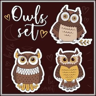 Kolekcja etykiet cute owl
