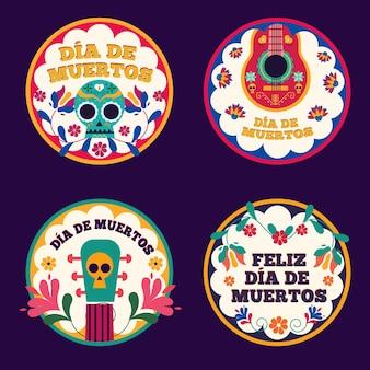 Kolekcja etykiet dia de muertos w płaskiej konstrukcji