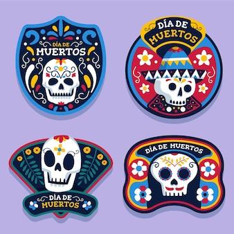Kolekcja etykiet día de muertos w płaskiej konstrukcji