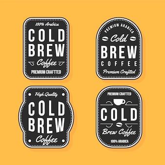Kolekcja etykiet do kawy na zimno