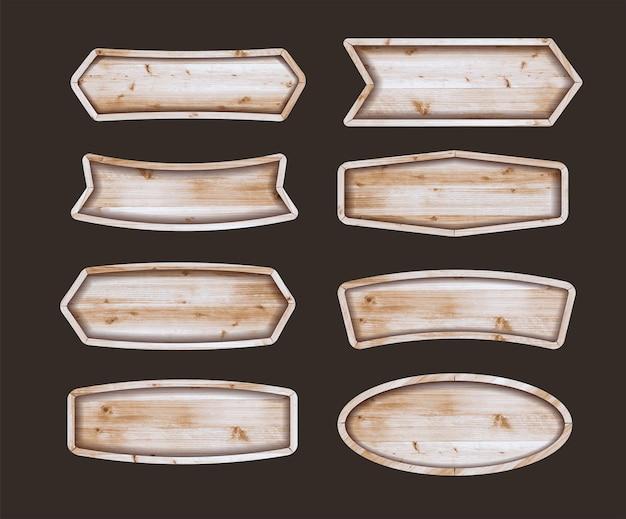 Kolekcja etykiet drewnianych naklejek. zestaw różnych kształtów tablic drewnianych szyld. ilustracja