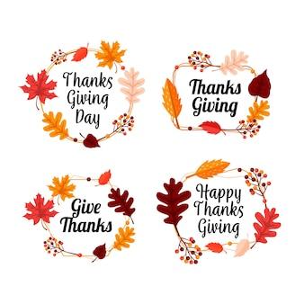 Kolekcja etykiet dziękczynienia w płaskiej konstrukcji