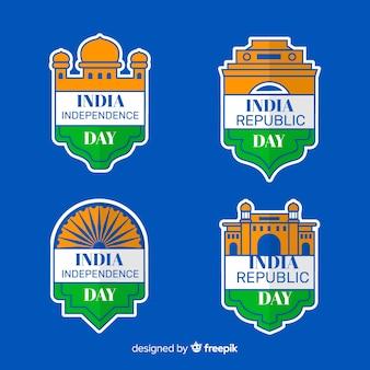 Kolekcja etykiet dzień niepodległości indii
