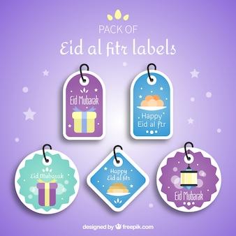 Kolekcja etykiet eid al fitr