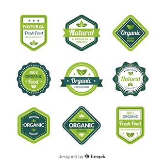 Kolekcja etykiet ekologicznej żywności płaskiej