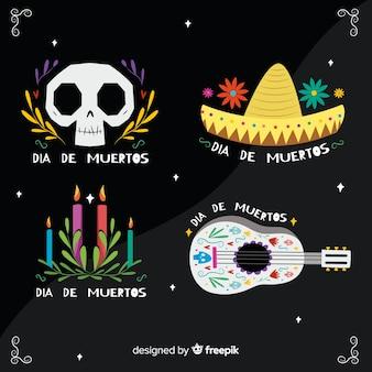Kolekcja etykiet flat dia de muertos