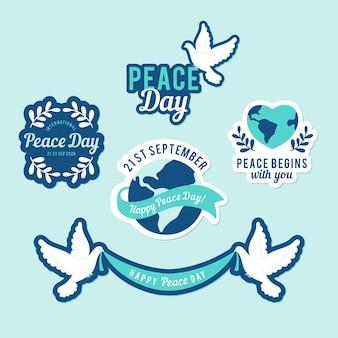 Kolekcja etykiet gołębi z dniem pokoju