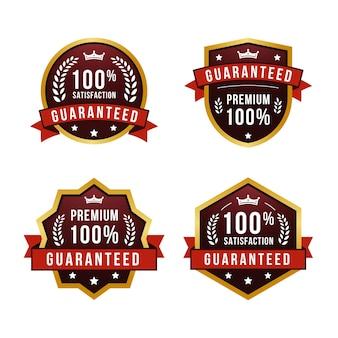 Kolekcja etykiet gwarancyjnych w stu procentach