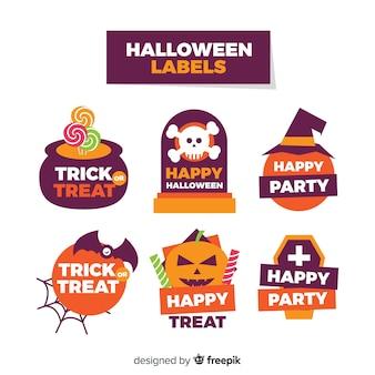 Kolekcja etykiet halloween w płaska konstrukcja