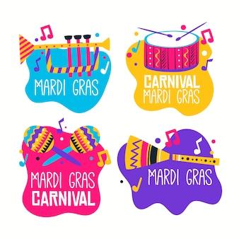 Kolekcja etykiet mardi gras z instrumentami muzycznymi