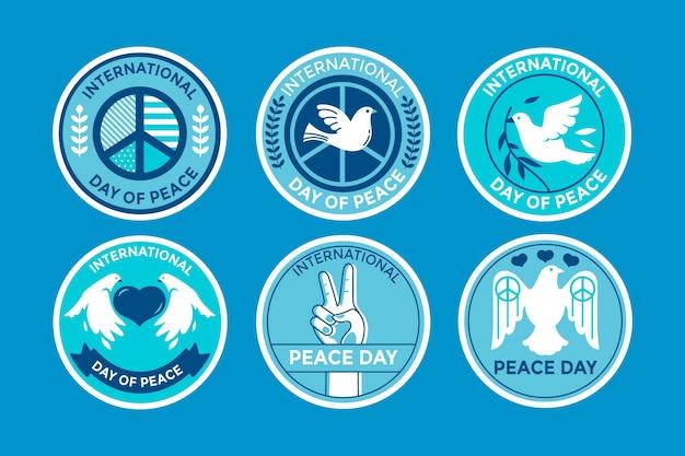 Kolekcja etykiet międzynarodowego dnia pokoju
