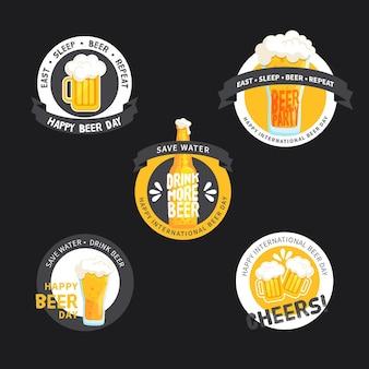 Kolekcja etykiet międzynarodowych dni piwa
