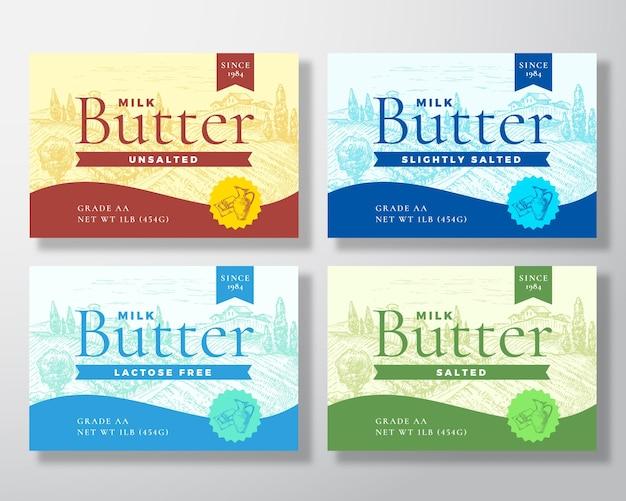 Kolekcja etykiet mlecznych masła mlecznego. zestaw układów streszczenie projektu opakowania.