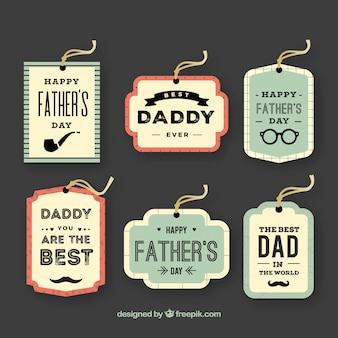 Kolekcja etykiet na dzień ojca w stylu vintage