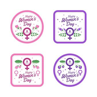 Kolekcja etykiet na dzień kobiet z kwiatami